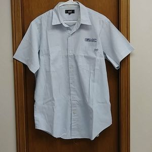 GMC short sleeve blue&white shirt